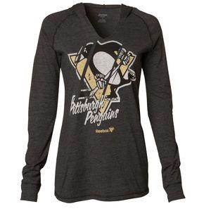 Reebok Pittsburgh Penguins hooded long sleeve T